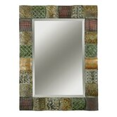 Ganya Rectangular Beveled Mirror with Convex Wooden Squares