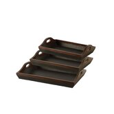 Hanley Trays in Black Faux Leather, Set of 3