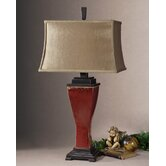 "Abiona 33"" Table Lamp in Distressed Burnished Red Glaze"