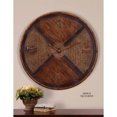 Jilin Clock in Bamboo and Woven Rattan