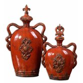 Raya Container in Distressed Crackled Burnt Orange (Set of 2)