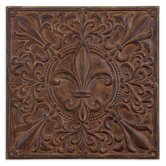 Fleur De Lis Plaque Wall Art in Rust Brown Wash