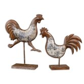 Country Chickens Statue in Brown Rust