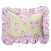 Flower Basket Decorative Pillow Pink and Green