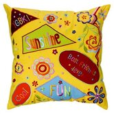 Sunshine 16&quot; x 16&quot; Embroidered Pillow in Yellow