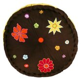 Valley of Flowers Floor Pillow in Brown