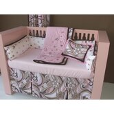 Retro Flowers 3 Piece Crib Beddding Set in Pink / Chocolate