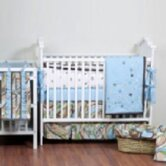 Retro Flowers Blue, Green and Chocolate Crib Bedding Collection