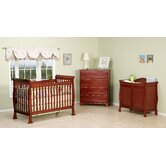 Reagan Three Piece Convertible Crib Nursery Set with Toddler Rail in Cherry