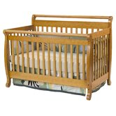 Emily Two Piece Convertible Crib Set with Toddler Rail in Honey Oak