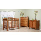 Thompson Three Piece Convertible Crib Nursery Set  with Toddler Rail in Oak