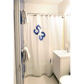 Spinnaker Shower Curtain in White Sailcloth with Blue Number