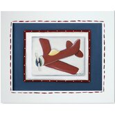 Transportation Red Plane Framed Giclee Wall Art