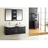"Ophelia Double 59.1"" Bathroom Vanity Set in Espresso"