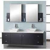 "Ultra Modern Clarissa 61"" Double Bathroom Vanity Set in Espresso"