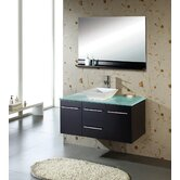 "Ultra Modern Marsala 47.2"" Wall Mounted Single Bathroom Vanity Set in Espresso"