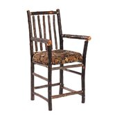 Hickory Bar Chair with Arms and Upholstered Seat