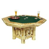 Traditional Cedar Log Poker Table Set with Log Framework Base