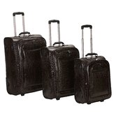 Crocodile Style 3 Piece Luggage Set