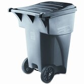 Brute Rollout Waste Container, Square, Polyethylene, 95gal, Gray