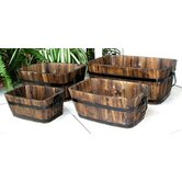 Rectangular Cedar Barrel in Burnt Brown (Set of 4 )