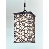 Aqua  Hanging Lantern in French Iron