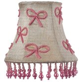Pink Pearl Bows Chandelier Shade in Ivory