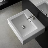 "Square 23.6"" x 20.1"" Above Counter Single Hole Bathroom Sink in White"