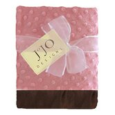 Pink and Brown Baby Girl Minky Dot and Satin Blanket