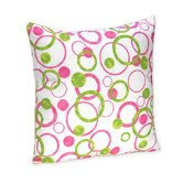 Pink and Green Mod Circles Throw Pillow