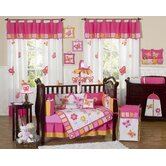 Butterfly Pink Orange 9 Piece Crib Bedding Set