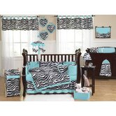 Turquoise Funky Zebra Crib Bedding Collection