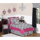 Isabella Hot Pink, Black and White Collection 4pc Twin Bedding Set