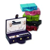 Lizard Grain Ladies Travel Jewelry Box