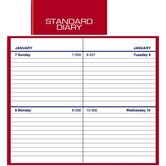 Standard Business Diary, 2 Days/Page, 2-3/4&quot;x4-5/8&quot;, Red, 2013