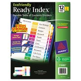100% Recycled Ready Index Dividers, Multicolor 1-12, 11 x 8-1/2, 3 Sets/Pack