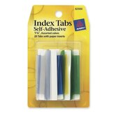 "Index Tabs, Self-Adhesives, Permanent, 1-3/4"", 20 per Pack, Assorted"
