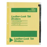 Printed Leather Tab Index Dividers, 26-Tab, A-Z, Black, 26/Set