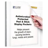 Pockets, Antimicrobial Peel/Stick, Letter, 10 per Pack, Clear