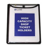 "Shop Ticket Holders, Flap w/ Velcro Closure, 9""x12"", 15 per Pack, Clear"