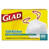 (100 per Carton) 13 Gallon Drawstring Tall Kitchen Bags in White