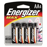 Max Alkaline Batteries, Aa, 4 Batteries/Pack