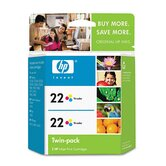 CC580FN (HP22) Inkjet Cartridge, 2/Pk, Tri-Color