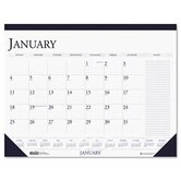Two-Color Monthly Desk Pad Calendar with Large Notes Section, 22 x 17, 2013