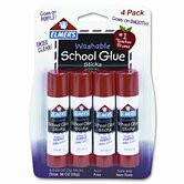 Washable School Glue Sticks, Purple, .24oz, Repositionable Stick, 4/pk