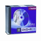 DVD+R Discs, 4.7GB, 16x, with Slim Jewel Cases, Silver, 10/Pack