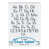 Chart Tablets w/Manuscript Cover, Ruled, White, 25 Sheets/Pad, 24 x 32