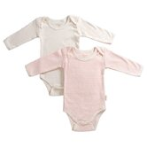 Tadpoles Organic Cotton 2 Piece Pinstripe and Solid Romper Set in Salmon