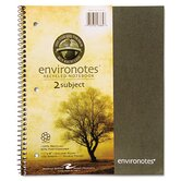 Environotes Wirebound Notebook, 9 x 11, 2 SUBJ, 80 Sheets, College, Assorted