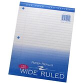 "Filler Paper, 3-Hole Punch, 8""x10-1/2"", Wide Rule, Margin"